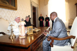 Pope Francis Meets President of the Central African Republic Faustin Archange Touadera
