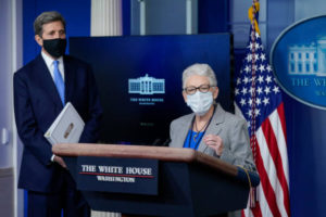Press Secretary Jen Psaki And Climate Change Advisors Hold White House Press Briefing. Net-zero