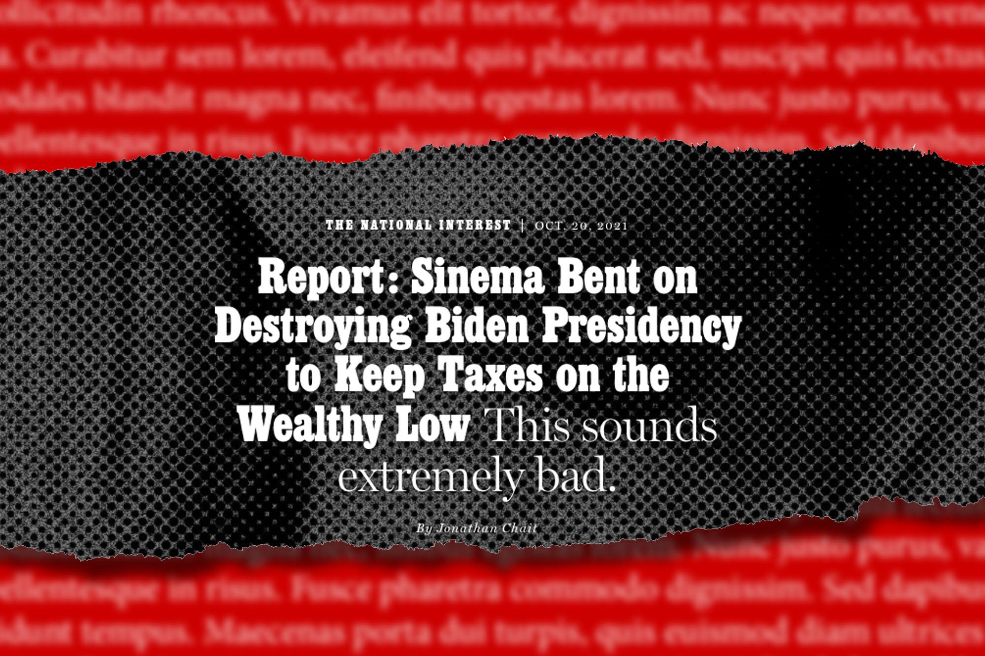 A headline from a New York magazine article on Sen. Kyrsten Sinema and the Biden administration.